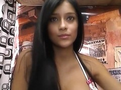 Perfect Latina playing with her toys on webcamera