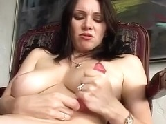 Big Titty Brunette Swallows A Hard Penis