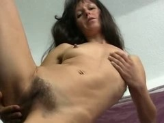 Shaggy Older Carmen toying her Wet Crack on the Chair