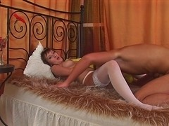 Sweet Young Coed Rosalie So Sexy In Her Brand New Stockings