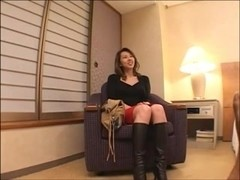 Bimbo rides dong in Japanese adult porn video