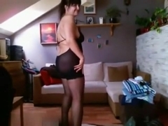 Hot MILF is in stockings