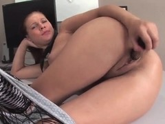 Teen Edith in fishnet lingerie teases and masturbates