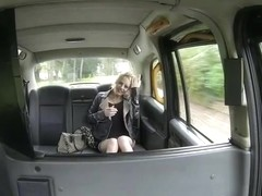 British blonde woman gets fucked hardcore inside a cab
