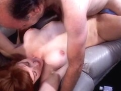 Breasty brunette hair mother I'd like to fuck gags on hard white weenie