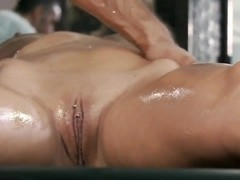 Big titted blonde massaged, fucked and cummed on