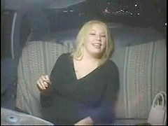 Horny Fat Chubby Party Girl masturbating in Taxi Cab