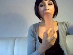 German Bitch Thick dildo in her mouth almost puked