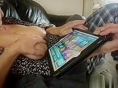 Wife playing games while i play with her milk sacks