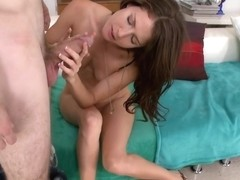 Sexy brunette swallows a big load
