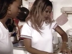 Hot Black Lesbian Coeds in the Kitchen