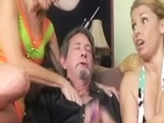 Sexy cougars play with a Dad