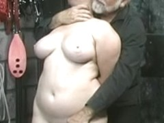 Cute juvenile brunette hair villein beauty disrobes undressed for humiliation play in basement