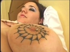 fat dark brown with tatoos on whoppers in anal act