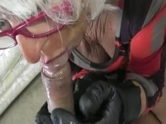 Hot Sexy Older Cougar HJ in Leather Gloves- POV