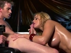 Cathy Heaven is oiled up and fucked hard