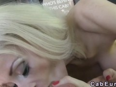 Busty blonde tits and anal banged in cab in public