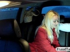 Chick in red coat pussy creampied by nympho driver
