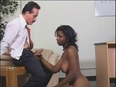 Darksome honey receives drilled by dominating woman and a man