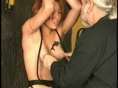 Hot thrall crotch roped,clamped and made cum