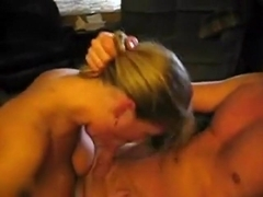 Hot blonde girl swallows my fat cock