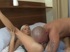 A blonde bombshell 69s with her bald boy-toy