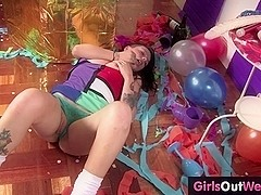 Tattooed amateur party girl masturbates on the floor