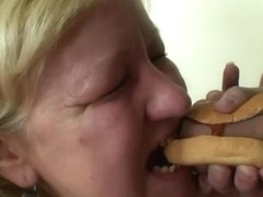 Biggest titted granny tastes tasty penis