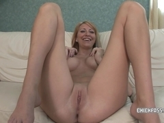 Blonde college girl Addison Riley plays with her pussy