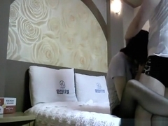 Asian girl cheats on her bf with her lover in a hotel