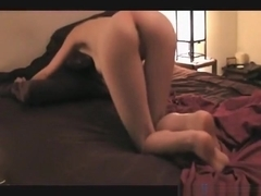 Brunette with firm booty eagerly awaits for her bf to fuck her doggystyle