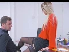 Blonde office hottie Katrin Tequila earns her pay raise