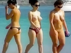 1St time in nature's garb at the beach ladies showing hawt bodies