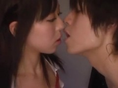 Horny guy explores shaved pussy of hot schoolgirl Shiori Yamate