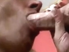 Tanned golden-haired mother I'd like to fuck wench squeezing cum from a dong