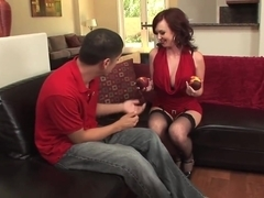 Redhead mature milf in stockings fucks a guy