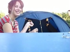 Couple goes camping in nature and make a sextape