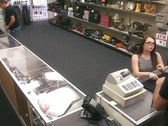 Slut in glasses convinced to get pounded in the backroom