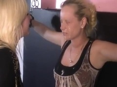 Blonde is restrained and spit on