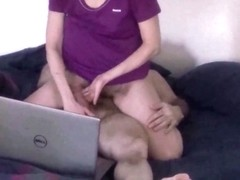 Mature wife strokes husband cock whilst watching porn