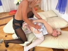 Blonde nailed by a dildo dick hard from behind