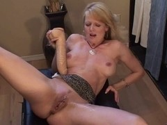 Blond mother I'd like to fuck squirts with biggest sex-toy