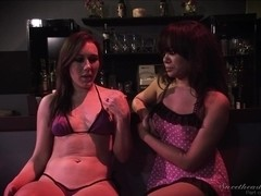 Teen lesbian and her girlfriend act dirty and make out