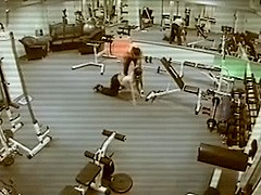 Security Cam In The Gym Filming Threesome Fuck!