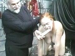 Red head sub acquires pound to table by slavemaster