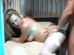 Golden-Haired hotty sucks 10-Pounder and acquires pounded by an inmate in his cell