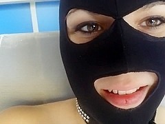 Masked cutie fucks and sucks