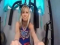 Superb cheerleader footjob