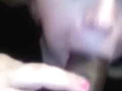 Cheating chubby wife swallows darksome cum