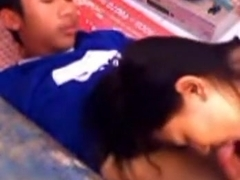 Cute asian girl makes-out with her bf and gives him a blowjob